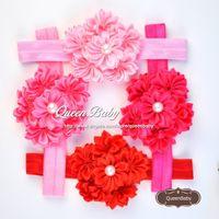Wholesale Diy Flower Hair Band - Satin Ribbon Cluster Flower Headband Matching Pearl Elastic DIY Layered Flower Hair Bands 20PCS lot QueenBaby