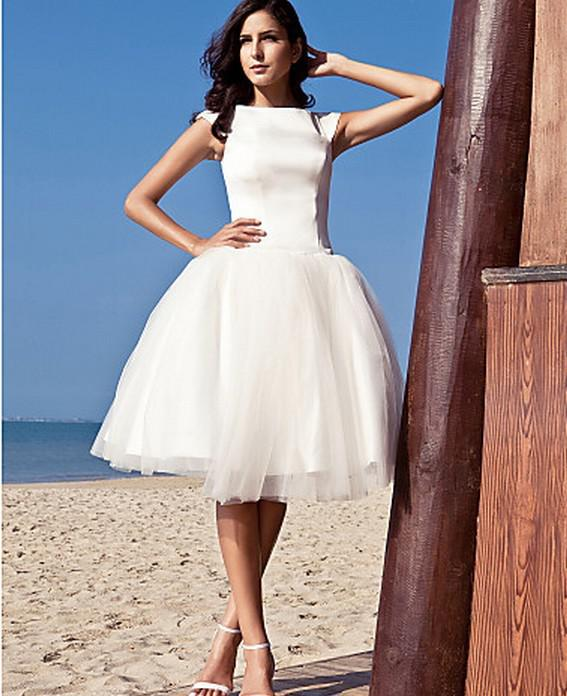 2013 Simple Bateau Bateall Ball Gown Knee Length Audrey Hepburn ...