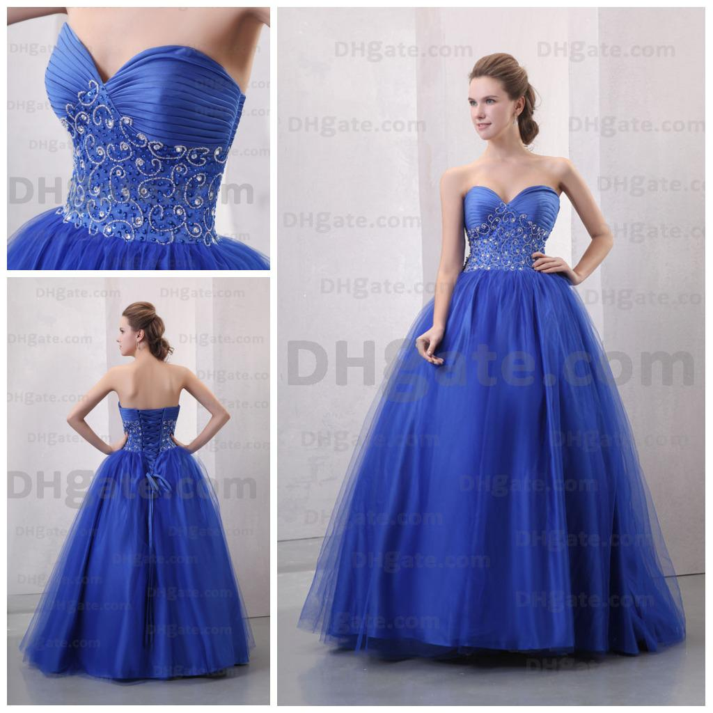 Princess Royal Blue Sweetheart Neck Sequence Beaded Pleated Bodice ...