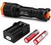 8 Pcs Lot CREE XM-L T6 1800LM Zoomable 5 mode Camping Aluminum LED Flashlight Torch Rechargeable Batteries Charger