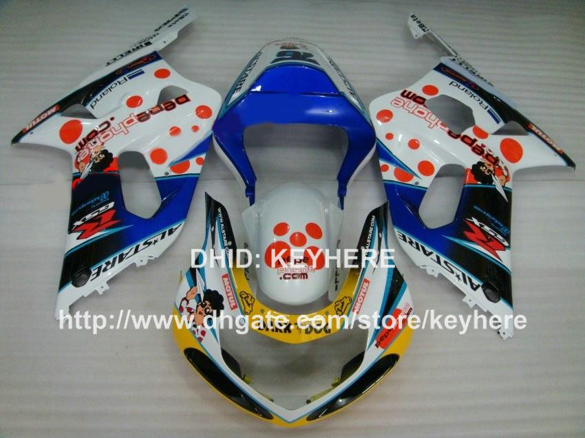 Kit carrozzeria in plastica ABS SUZUKI GSX-R 600/750 2001 2002 2003 GSXR600 750 01 02 03 kit carrozzeria carene G4d parti moto bianche blu G4d
