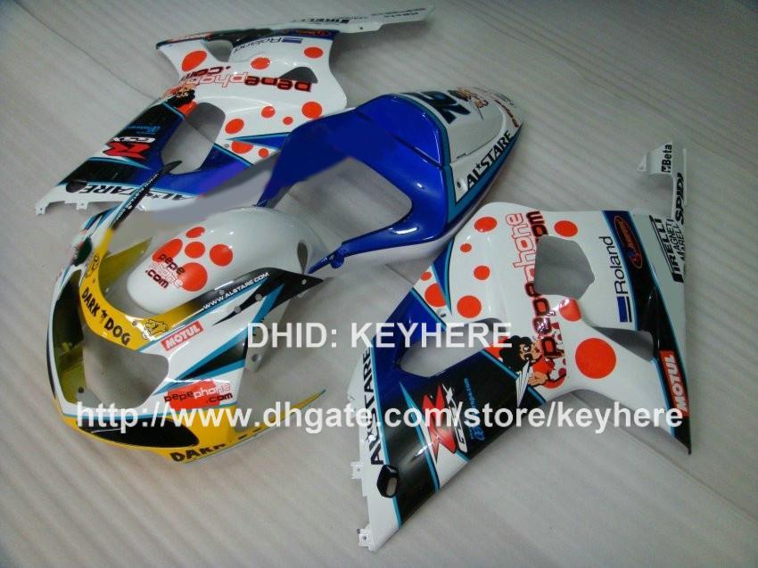Jogo de carenagem ABS plástico para SUZUKI GSX-R 600/750 2001 2002 2003 GSXR600 750 01 02 03 k1 kit carenagem de carenagem G4d peças de moto branco azul