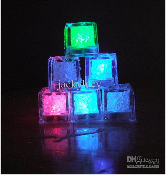 LED Flash Light Ice Cubes, crystal Cube color flash, light ice for wedding Christmas Party Bar