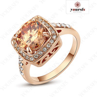 Wholesale Gp Set - Yoursfs Rings Charming Gift Elegant Rose Gold Swarov Crystal 18K Gold GP 2.55ct Simulation of diamond fashion Engagement Rings R123R3