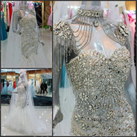 Wholesale Sexy Dazzing Mermaid - New Arrival Sweetheart Neck Romantic Wedding Dresses Luxurious Dazzing Crystal Beading Tulle Bridal Dresses Wedding Gown