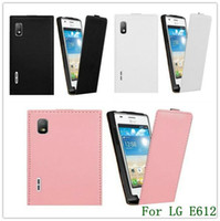 Wholesale Lg L5 Optimus Leather - New Arrival Black Genuine Leather Flip Back Cover Case for LG E612 Optimus L5 1PCS