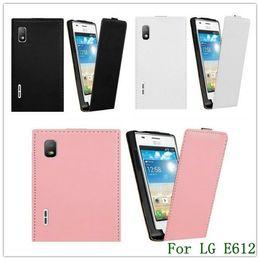 Wholesale Lg L5 Black - New Arrival Black Genuine Leather Flip Back Cover Case for LG E612 Optimus L5 1PCS