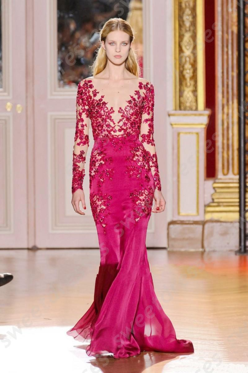 Compre Zuhair Murad 2015 Vestidos De Noche Sheer Neck Sirena Fushcia ...
