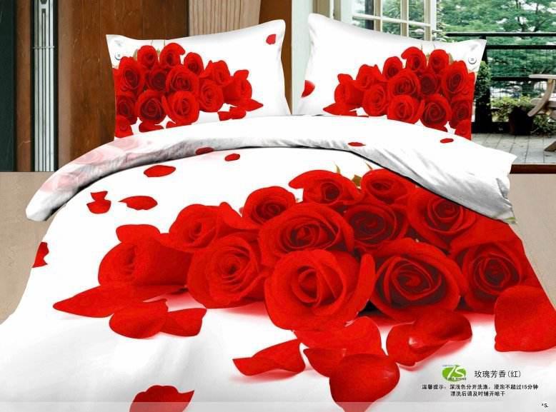 acheter chaud l 39 amour de la rose rouge 3d ensembles de literie reine pleine taille en coton. Black Bedroom Furniture Sets. Home Design Ideas