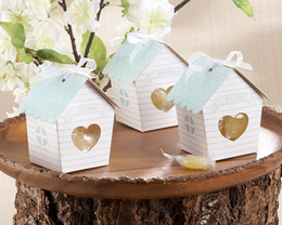 Wholesale Paper Matches - 50 Pcs Spring Bird House Candy Box with Matching Tag Wedding Favor new