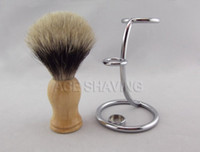 Shaving Brush Male  Finest Pure Badger Hair Wood Handle Shaving Brush with Art Metal Stand