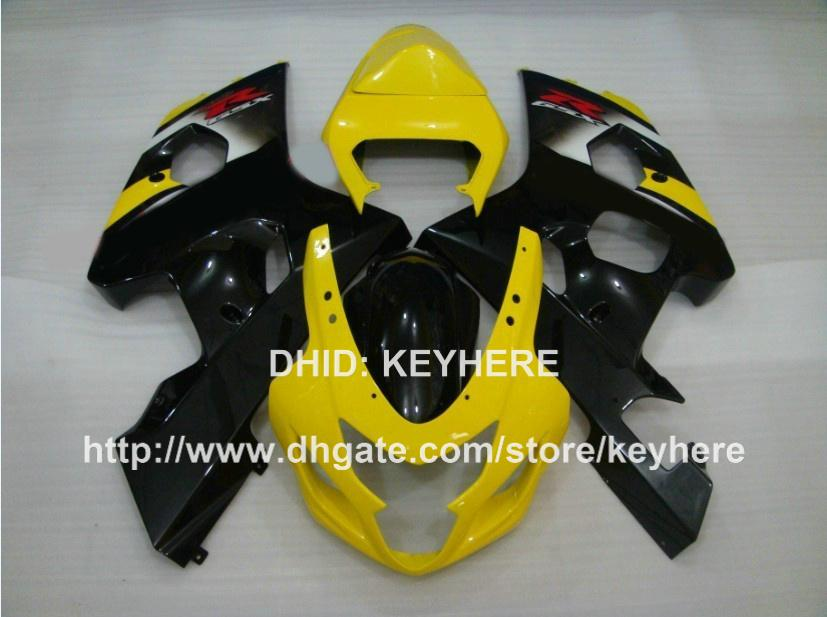 ABS Plastic Fairing Kit voor Suzuki GSX-R 600/750 04 05 GSX R600 R750 04 05 GSXR600 2004 2005 K4 FUNDINGS GA GELE ZWARTE MOTORFIETSCHAPBAAR