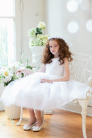 Lovely White Ivory Tea- Length Flower Girls' Dresses Girls' F...