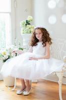 Lovely White Ivory Tea- Length Flower Girls' Dresses Girls' F...
