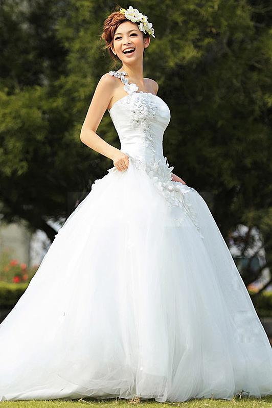 Personnalisé Dernières Sweet A-Line-parole longueur une-épaule tribunal train robe de mariée robes de mariée