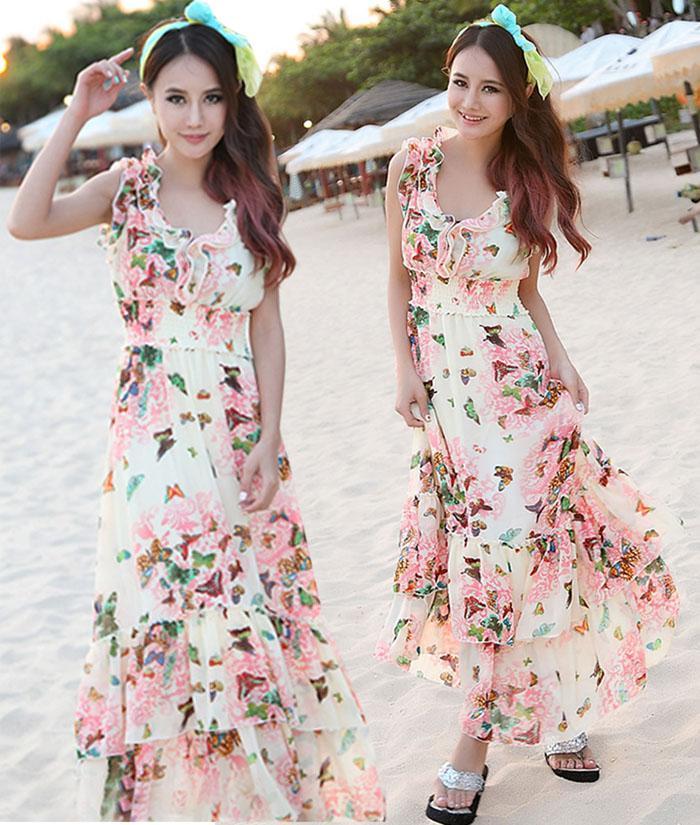 Summer Dresses Women Ladies Ruffles Chiffon Dress Bohemian Beach Dress Floral Print Long Skirt Maxi Dresses