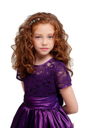Lovely Purple Red Lace Knee-Len Flower Girls' Dresses Girls' Formal Dresses Princess Pageant Skirt Holidays Brithday Skirt SZ 2-10 HF513016