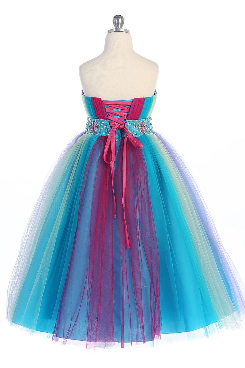 Lovely Rainbow Tulle Tea-Le Flower Girls' Dresses Girls' Formal Dresses Princess Pageant Skirt Holidays Brithday Skirt SZ 2-10 HF513019