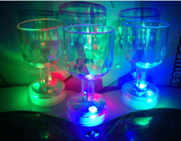 Wholesale Led Barware - Hot selling!!24PCS lot Colorful LED flash cup Acrylic Cup Flashing Rocks Glass Barware Lamp goblet free shipping