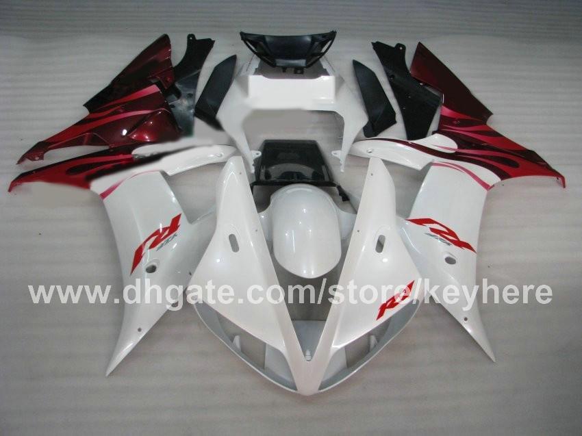 Custom bodykit free Aftermarket ABS Carenatura in plastica Carrozzeria YZF R1 2002 2003 YAMAHA 02 03 YZFR1 fiamma rossa bianca sostituire carene