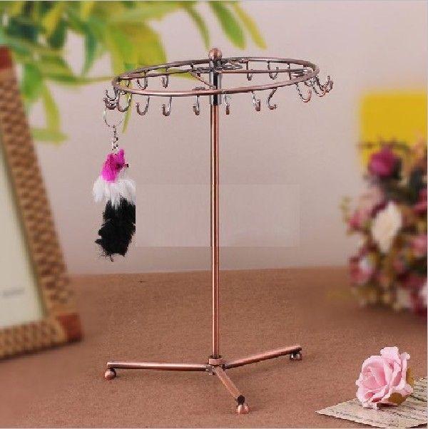 Hoogwaardige ketting hanger sieraden display standplated koper brons 23 haken kan worden geassembleerd 360 roterend