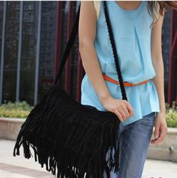 Wholesale Camel Suede Handbag - Dropship Lady Bags Suede Shoulder Bag Fringe Tassel women's fashion handbag 4colors