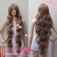 Wholesale Extra Long Curly Cosplay Wig - Popular Extra Long Wavy Brown Curly Cosplay Costume Wig