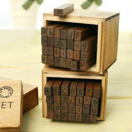 Wholesale Decorative Stamp Set - 10set lot(28 pcs set) NEW schoolbook stamp stamp set wooden box Decorative DIY funny work uppercase& lowercase Wholesale