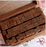 Wholesale wooden alphabet stamp - 70 pcs set Wooden Stamps AlPhaBet digital and letters seal standardized form stamps 14.6*8.6*5cm 2 styles