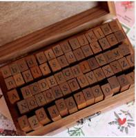 holz alphabet stempel gesetzt großhandel-70 Stück / Set Holz-Stempel Alphabet digitale und Buchstaben versiegeln standardisierter Form Briefmarken 14,6 * 8.6 * 5cm 2 Arten