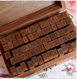 alphabet seal stamp Canada - 70 pcs set Wooden Stamps AlPhaBet digital and letters seal standardized form stamps 14.6*8.6*5cm 2 styles
