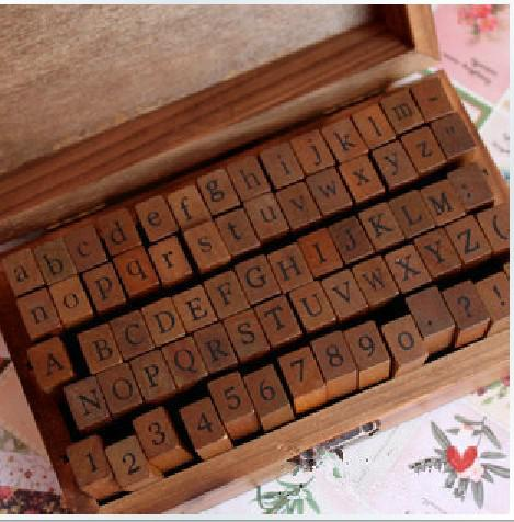best selling 70 pcs set Wooden Stamps AlPhaBet digital and letters seal standardized form stamps 14.6*8.6*5cm 2 styles