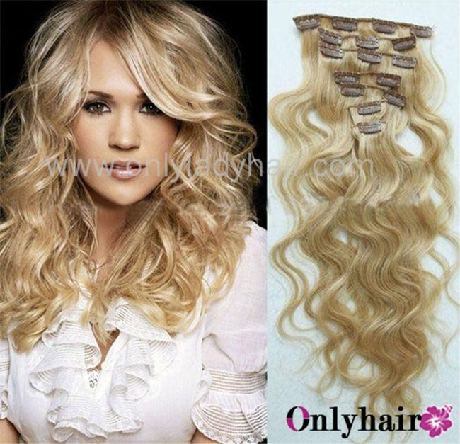 Full head thickest 120g clip in blonde human hair extension body full head thickest 120g clip in blonde human hair extension body wave mixed length available pmusecretfo Gallery
