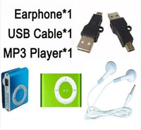 Wholesale mini clip metal mp3 player for sale - Group buy set New metal mini Clip Mp3 player usb cable earphone with tf card slot colors