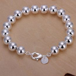 Wholesale Cheap Good Quality Gifts - Cheap good quality fashion Trend 925 silver charm Hollow Smooth 10mm Prayer beads chain Ms. bracelet jewelry Christmas gift Free shipping