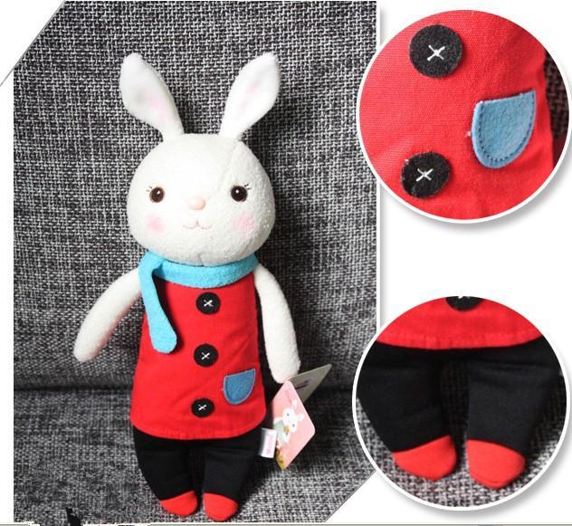 Dia dos Namorados dom o tiramisu coelho IMITAÇÃO microfone Coelho boneca brinquedo de pelúcia com caixa de presente
