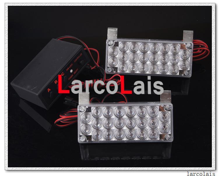 Larcolais 호박색 백색 2x22 LED 스트로브 섬광 경고 EMS 차 트럭 빛 번쩍이는 소방관은 2 x 22를 점화합니다