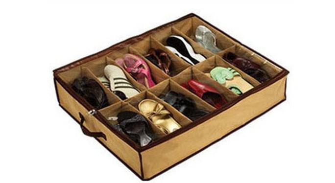 Ücretsiz kargo kumaş Dolap ayakkabı Organizatör Altında Yatak Depolama Tutucu Kutusu Konteyner Vaka Storer Için 12 Ayakkabı