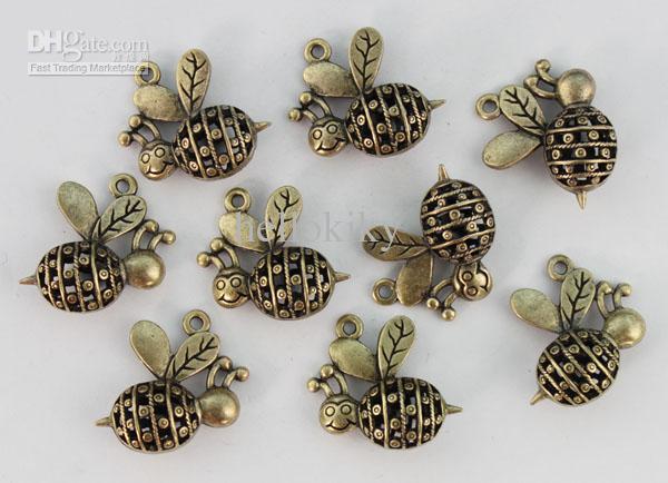 bronze antique évider mignon pendentif charme abeille # 22932