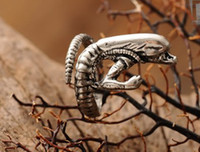 Wholesale Alien Rings - 2013 Retro Vintage Alien Monstrous Men Rings Gothic Punk Ring Jewelry Size Adjustable 10Pcs Lot tm1