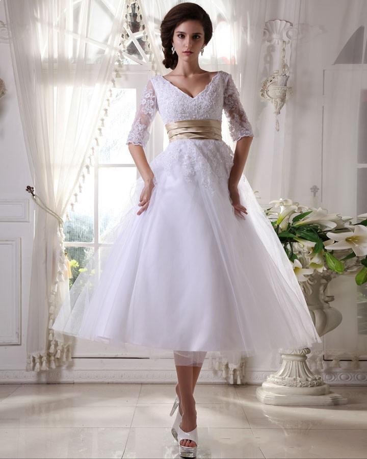 Discount Fashion A Line V Neck Tea Length White Organza