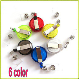 Discount retractable id key chain - Random Color Retractable Ski Pass ID Card Badge Holder Key Chain Reels With Metal Clip MYY4041