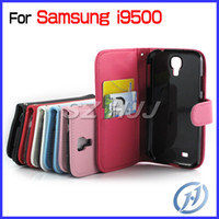 Wholesale Galaxy S Iv Flip - Flip Cover for Samsung Galaxy S4 S IV i9500 Smooth Pattern Stand Wallet PU Leather Case