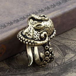 Wholesale Vintage Octopus - Alternative Style Vintage Bronze Octopus Type Men Ring Size Adjustable Punk Jewelry Rings 12 Pcs Lot TM3