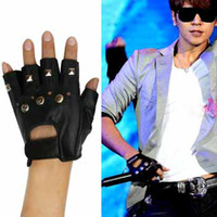 Wholesale Black Fingerless Biker Gloves - Women and men studded river Black leather faux fingerness Gloves goth biker punk #8131