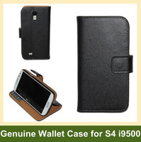 Wholesale Galaxy S4 Folding Case - Wholesale Luxury Genuine Leather Wallet Case for S4 i9500 Folding Leather Flip Case for Samsung Galaxy S4 i9500 Free Shipping