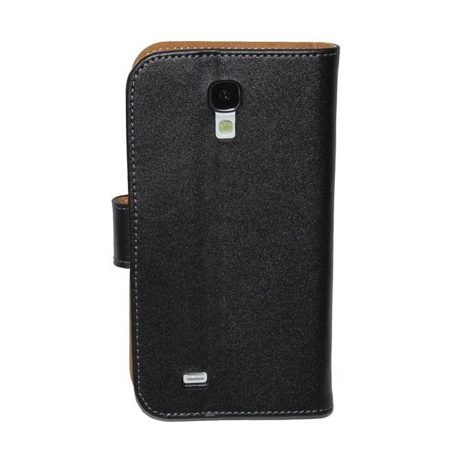 Wholesale Luxo Genuine Leather Wallet Case para S4 i9500 Folding Leather Flip Case para Samsung Galaxy S4 i9500 frete grátis