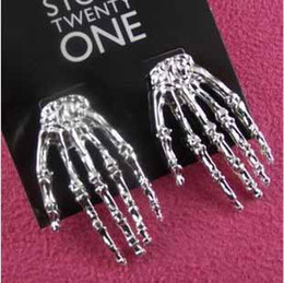 Wholesale Hand Skull Earring - Skull Hand Punk style EAR STUD Stud Earring Electro-plated silver color stud Studs #8072