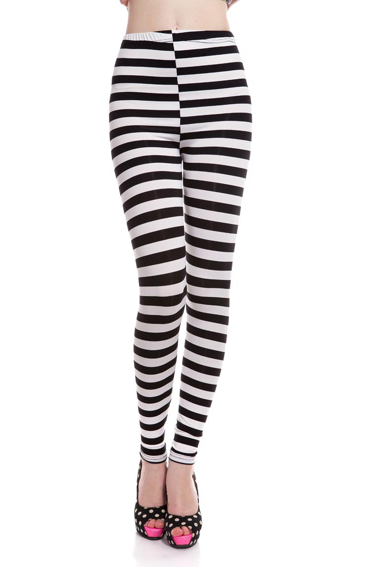 Wholesale Black And White Striped Leggings