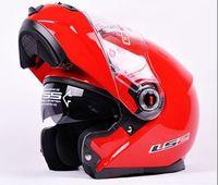 ls2 viseras de casco al por mayor-venta al por mayor LS2 FF386 casco Dynamic Red cara llena armet undrape cara Flip Up Dual Shield Sun Visor motocicleta Helm